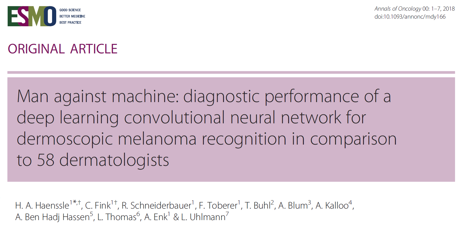 Man against machine: diagnostic performance of a deep learning convolutional neural network for dermoscopic melanoma recognition in comparison to 58 dermatologists