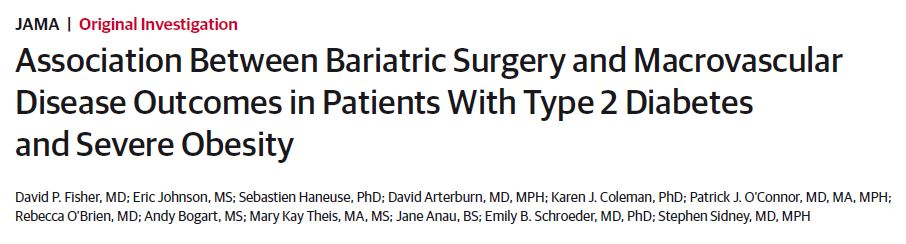 Association between bariatric surgery and macrovascular disease outcomes in patients with type 2 diabetes and severe obesity