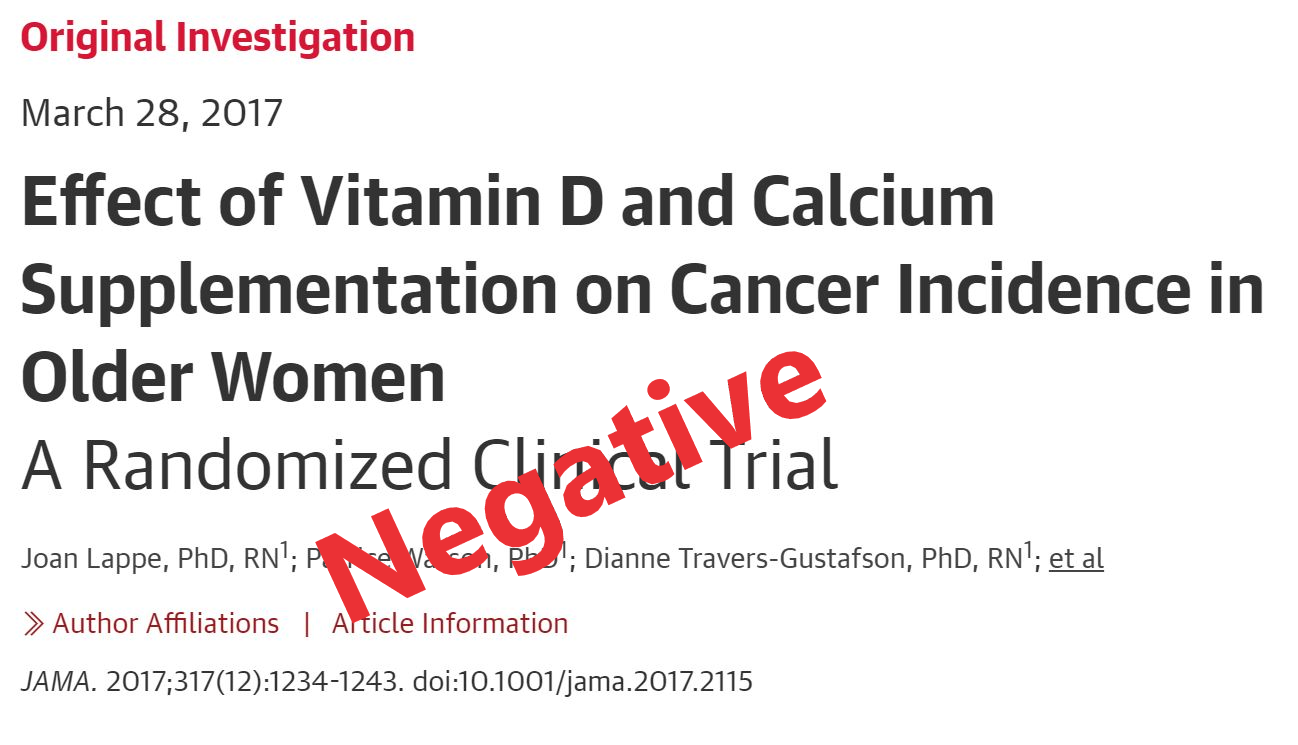Just one example of a randomized trial where Vitamin D supplementation didn't do anything.