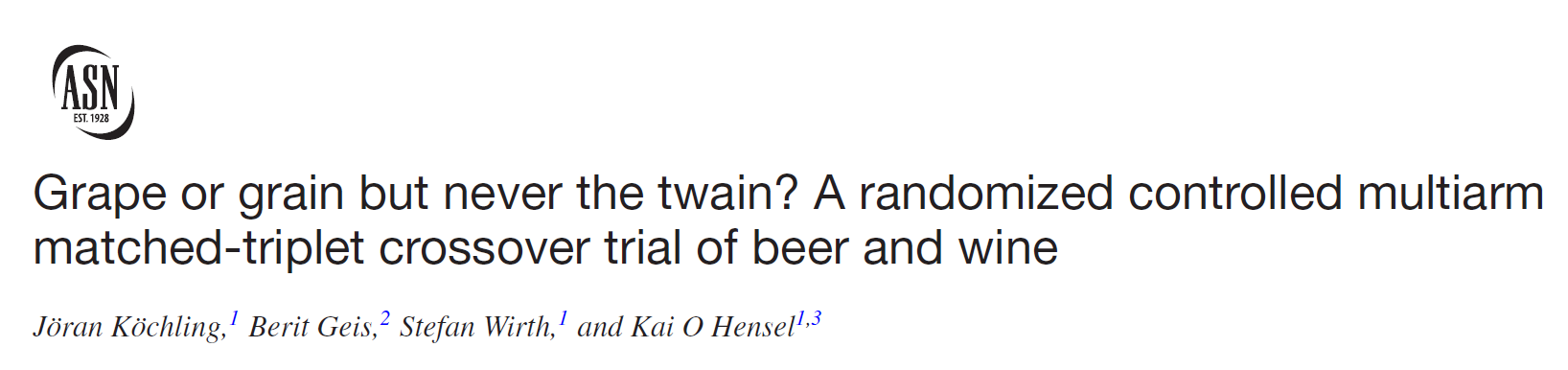Grape of grain but never the twain? A randomized controlled multiarm matched-triplet crossover trial of beer and wine.