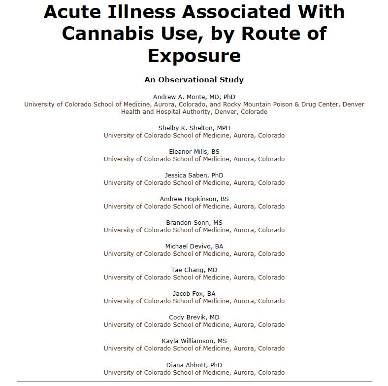 Acute Illness Associated with Cannabis Use, by Route of Exposure