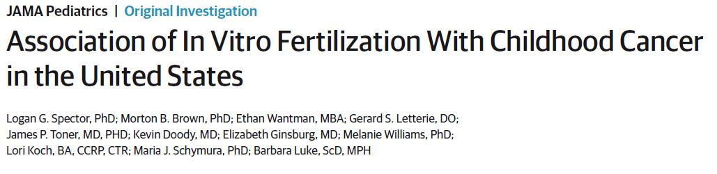 Association of In Vitro Fertilization With Childhood Cancer in the United States
