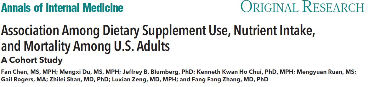 Association Among Dietary Supplement Use, Nutrient Intake, and Mortality Among U.S. Adults