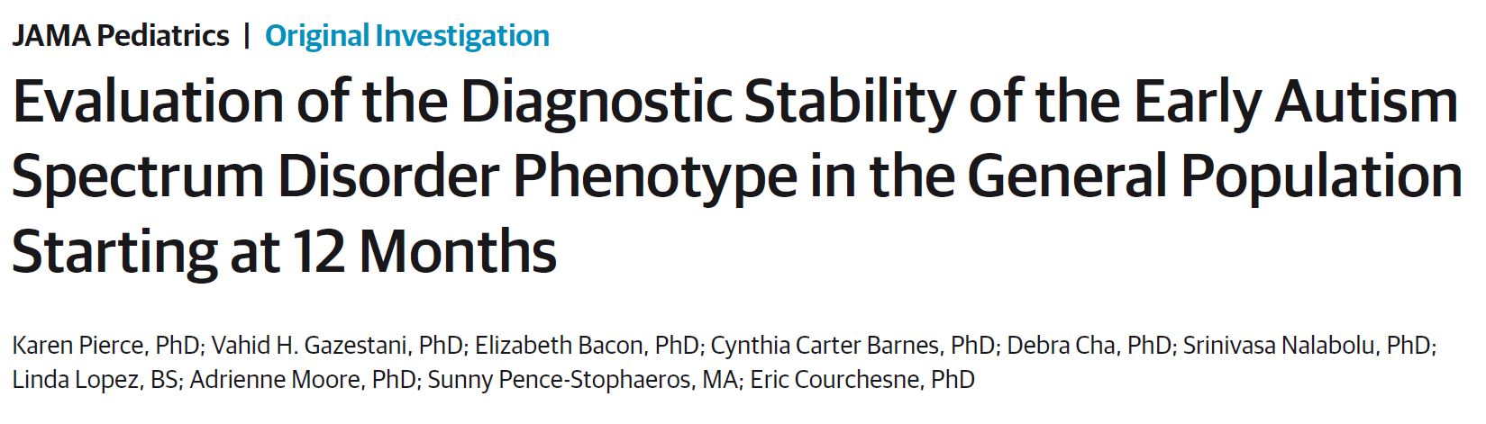 Evaluation of the Diagnostic Stability of the Early Autism Spectrum Disorder Phenotype in the General Population Starting at 12 Months