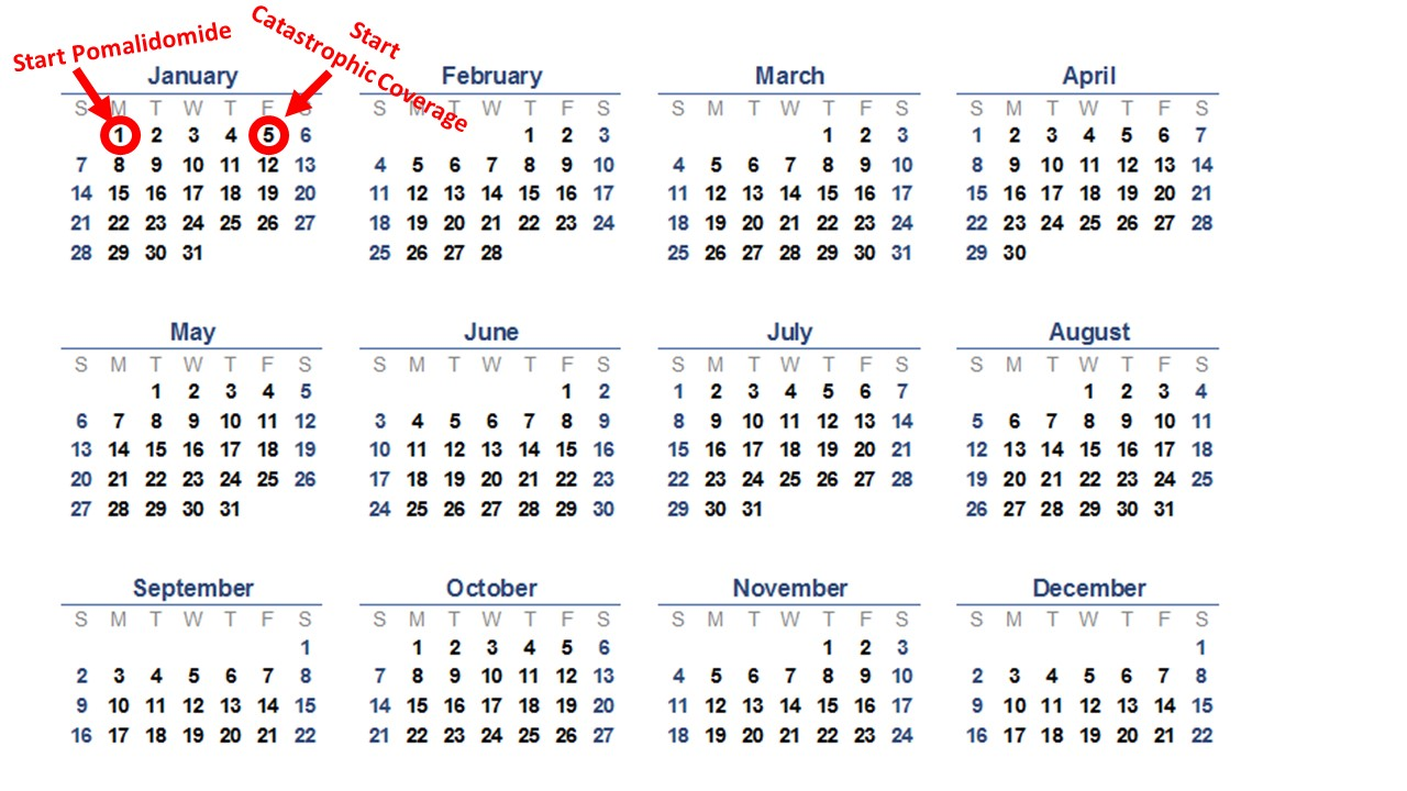 If you start pomalidomide on January 1st, you are on the other side of the donut hole by January 5th. Happy new year.