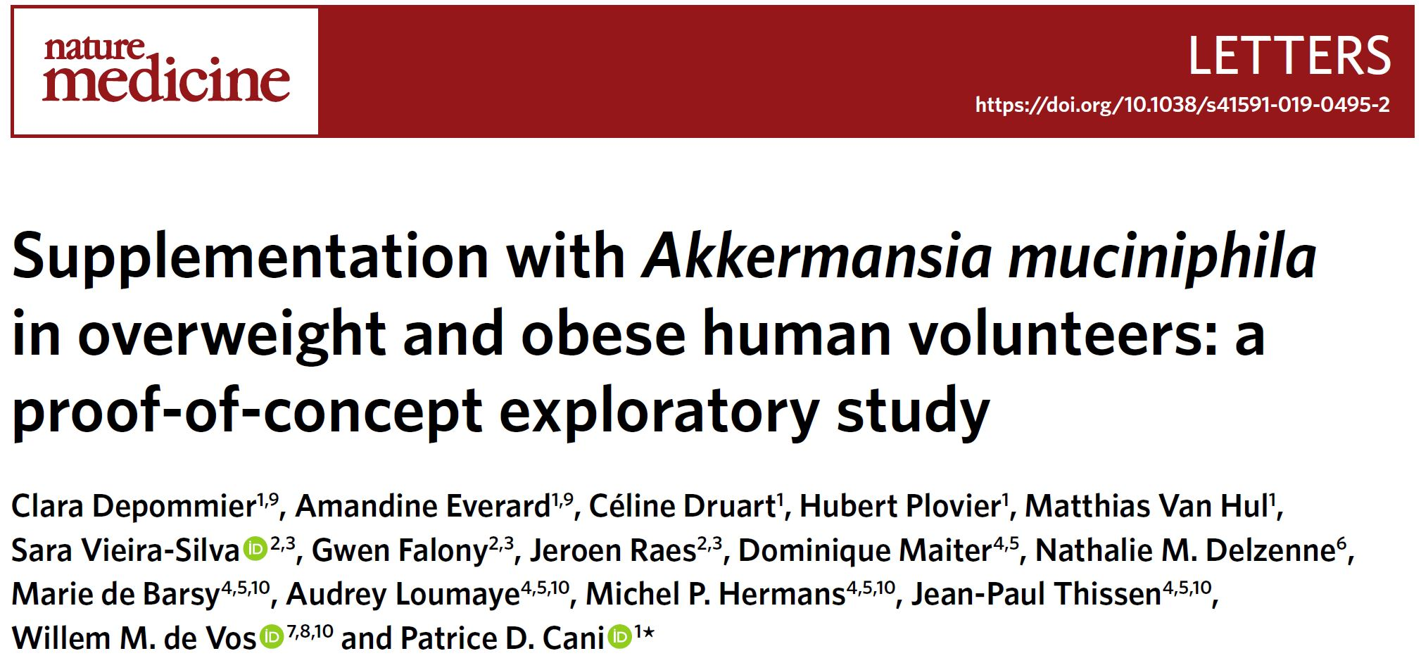 Supplementation with Akkermansia muciniphila in overweight and obese human volunteers: a proof-of-concept exploratory study