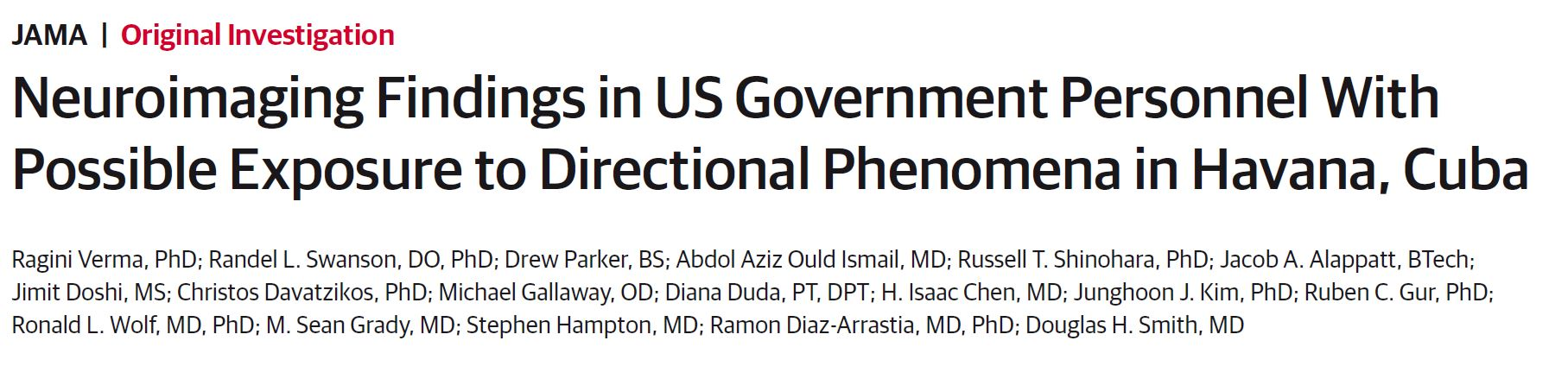 Neuroimaging Findings in US Government Personnel With Possible Exposure to Directional Phenomena in Havana, Cuba
