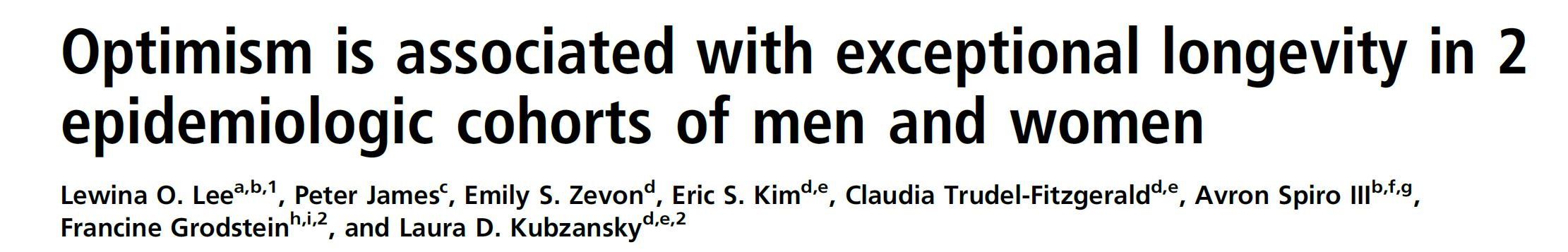 Optimism is associated with exceptional longevity in 2 epidemiologic cohorts of men and women