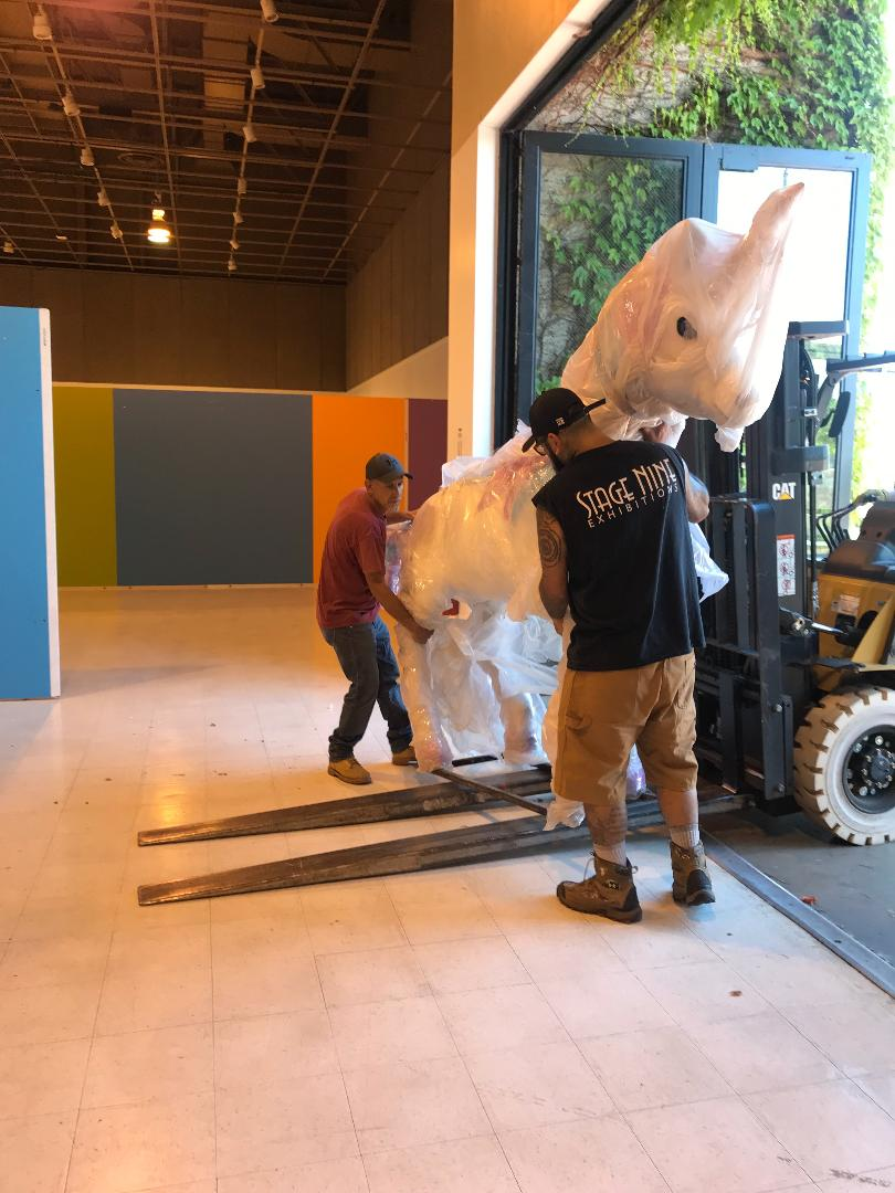 Unloading of a giant unicorn by Josh and Arturo.
