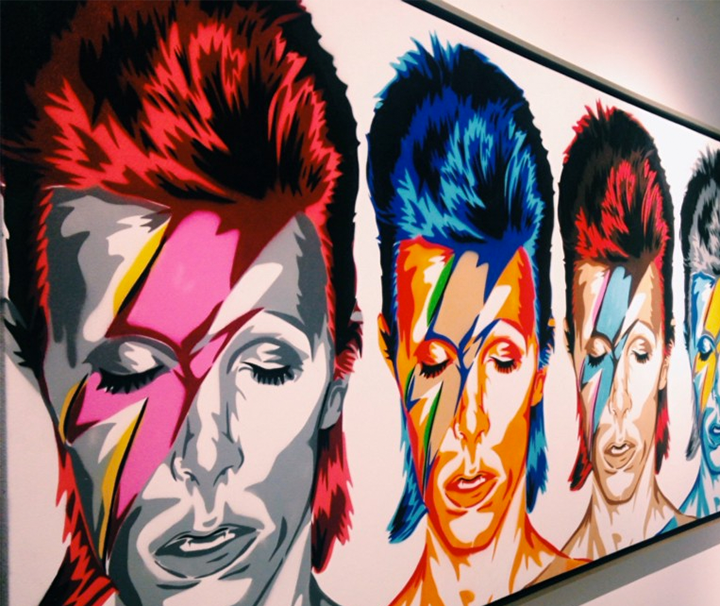 Pop art of David Bowie, artist linked in footer of article.