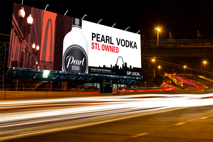 "Digital mock-up of the   Pearl® Vodka   ""Sip Local"" billboards that are now posted throughout Metro St. Louis."