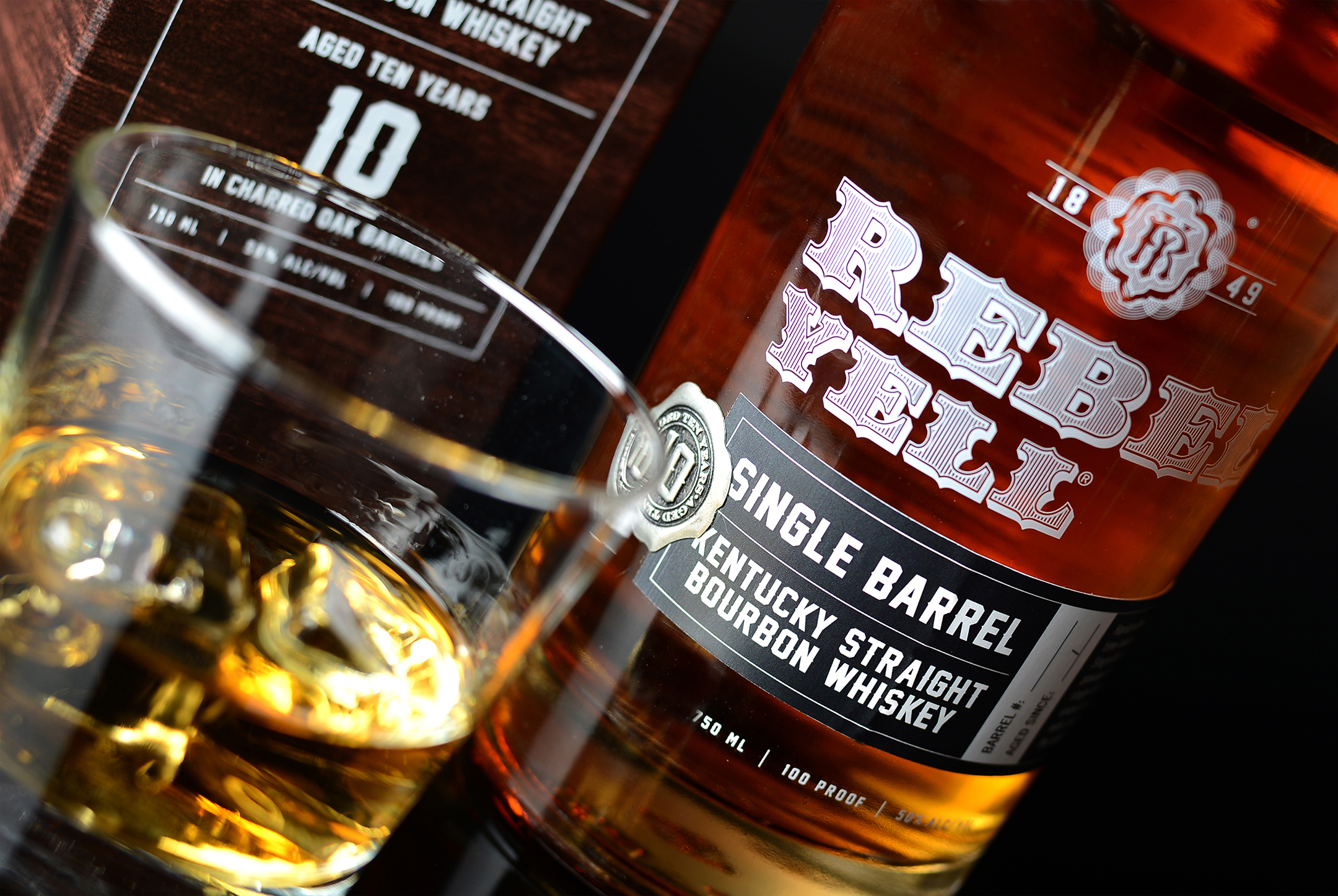 A glimpse of Rebel Yell's 10-Year Single Barrel Bourbon. Photography by Cfx, Inc.