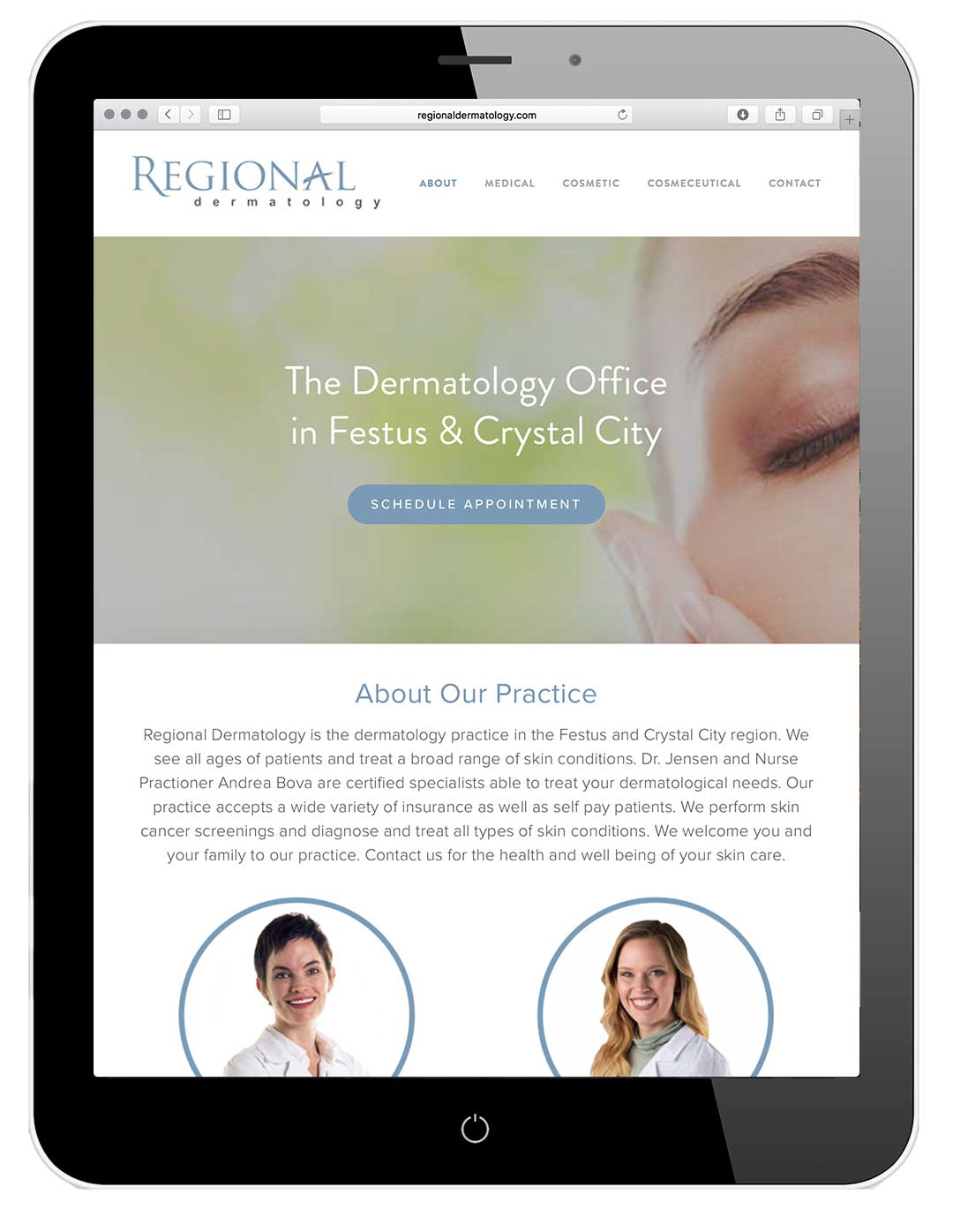 A preview of the new Regional Dermatology website, designed and developed by Cfx.