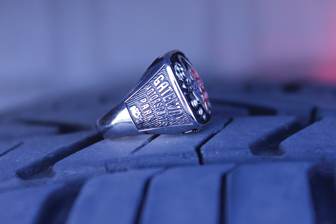 Rings designed by Cfx client  Huffords Jewelry  for podium winners of Gateway Bommarito 500.