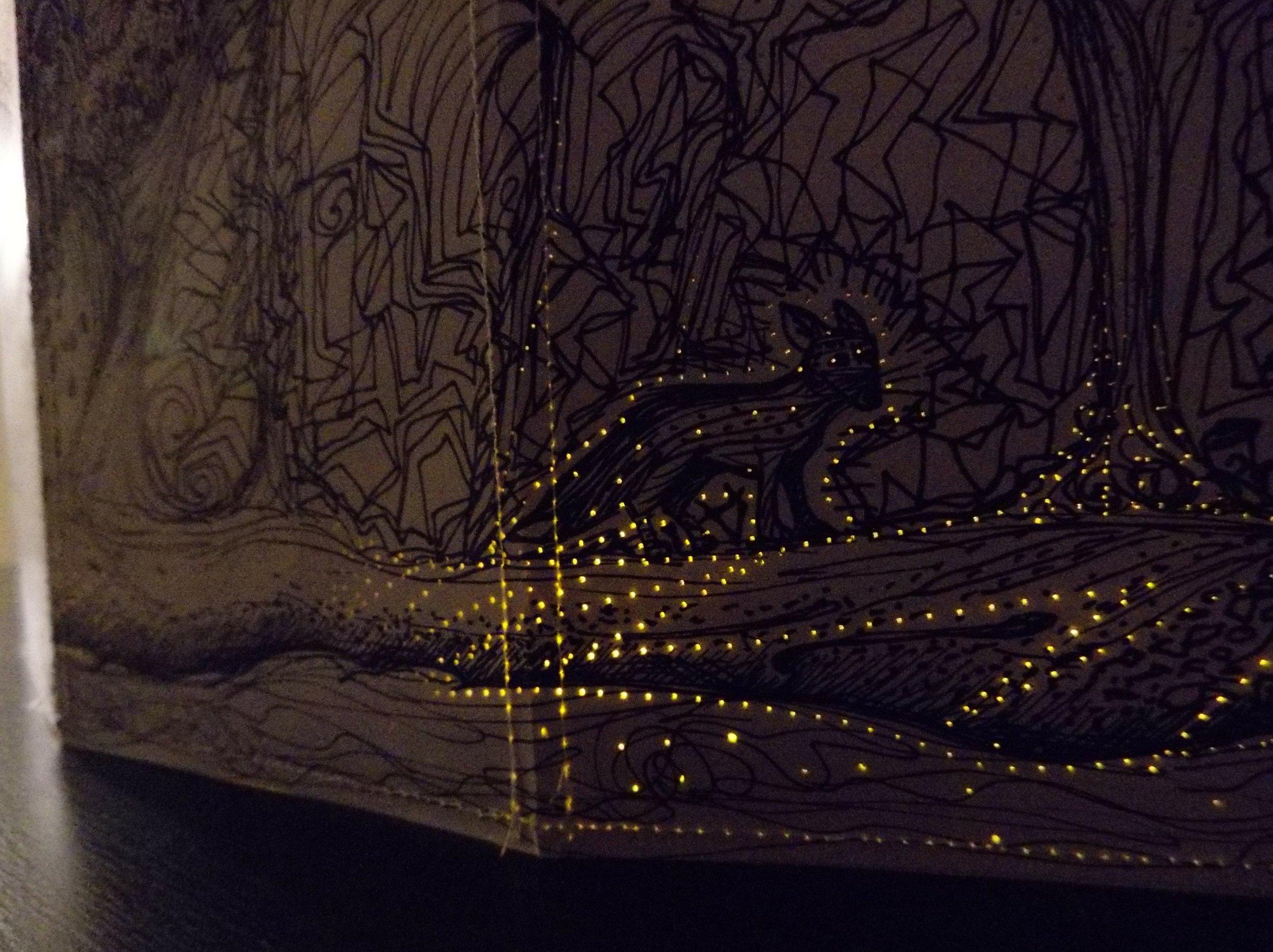 Detail:  Landscape/Lantern, 2016  - pen & ink, cardstock