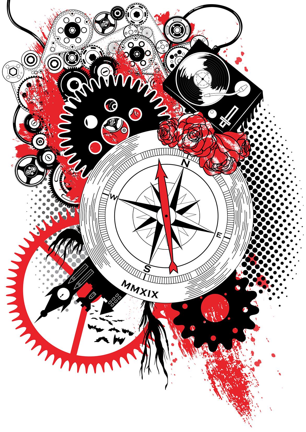 Trash Polka Style Tattoo Illustration