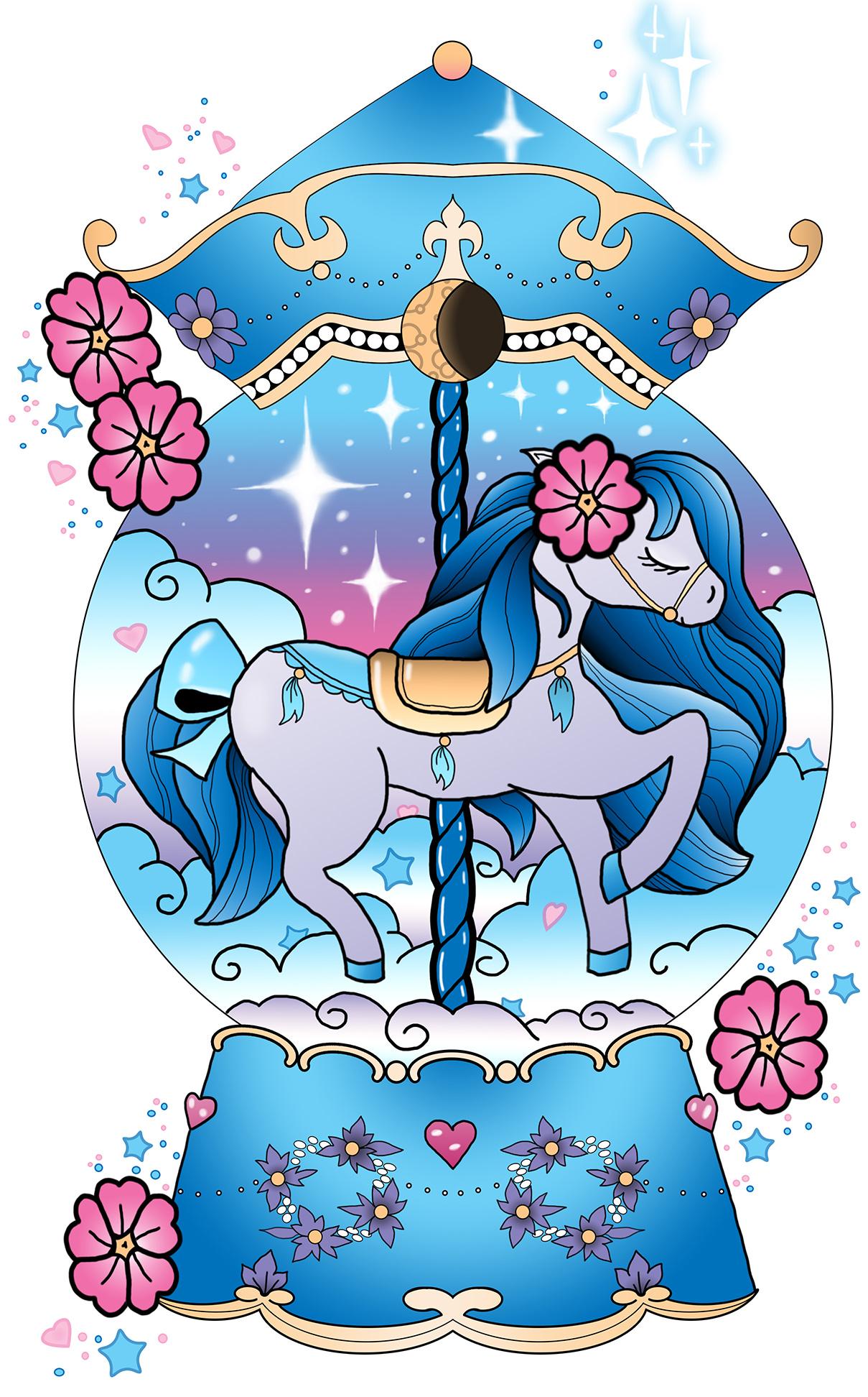 Carousel Pony Tattoo Illustration