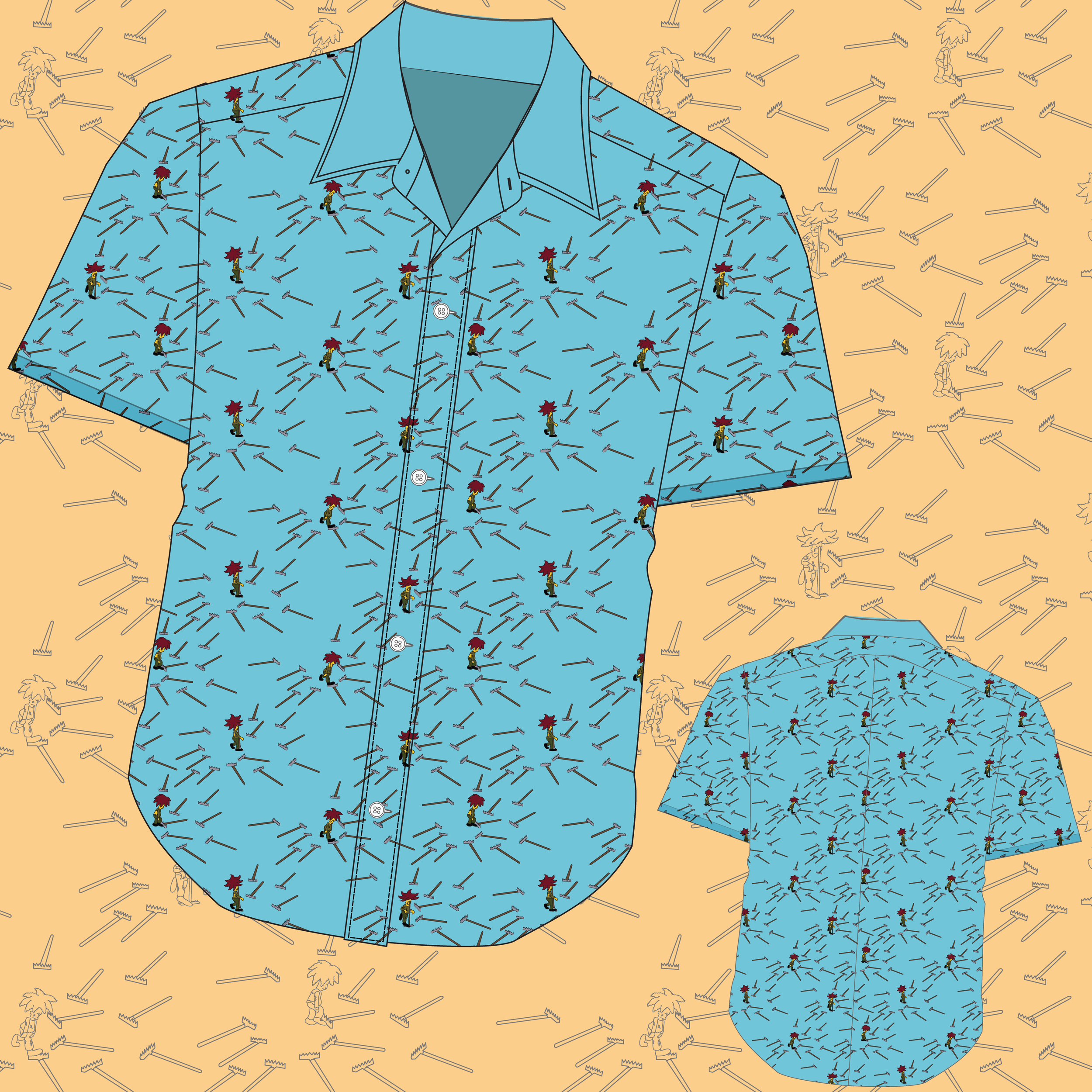 What if Sideshow Bob stepping on rakes was a patterned shirt? I think it would go a little something like this…