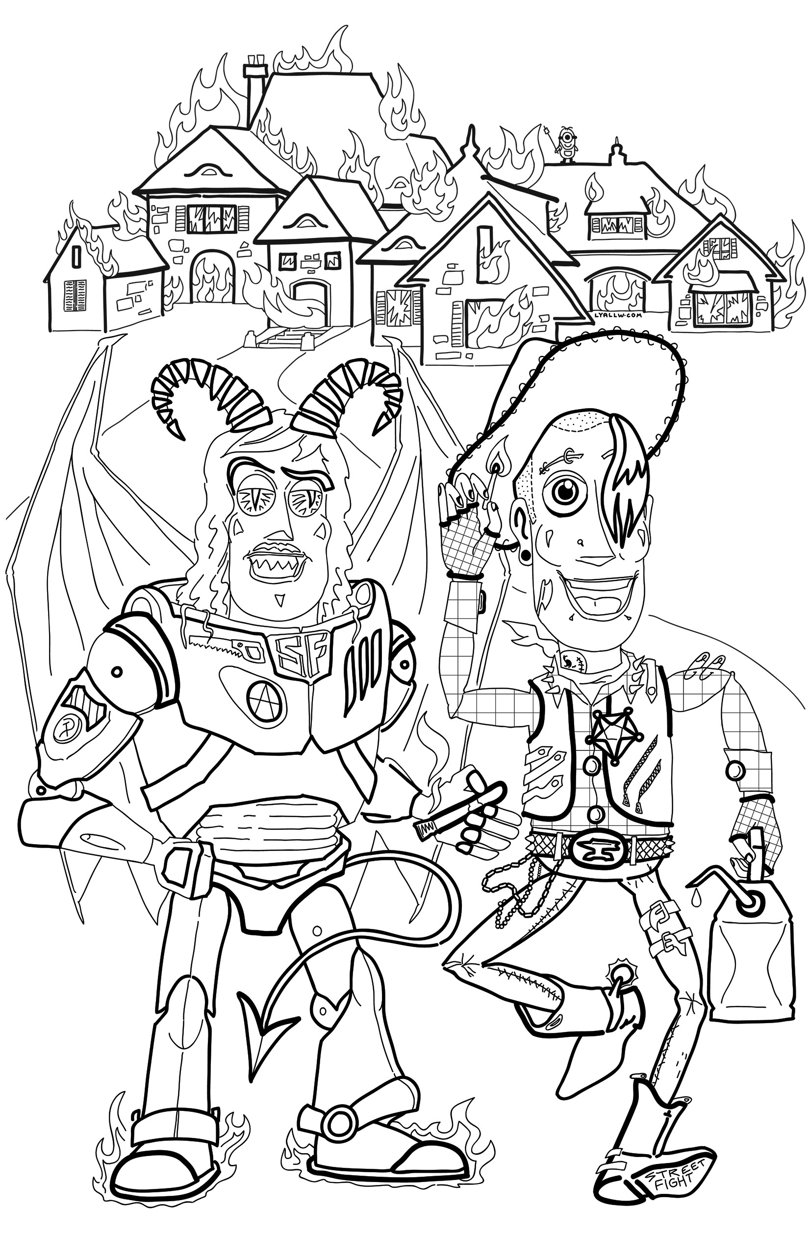 ' Woody & Buzz Commit an Arson ' illustration for the June 2018 ' Copyright Criminals Coloring Book ' zine.