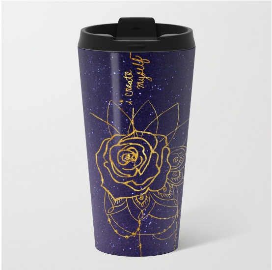 galaxy art gold foil travel mug