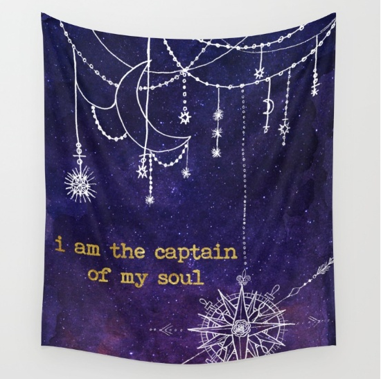 captain of my soul galaxy art tapestry