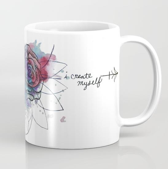 watercolor rose dreamcatcher bad wolf artwork mug