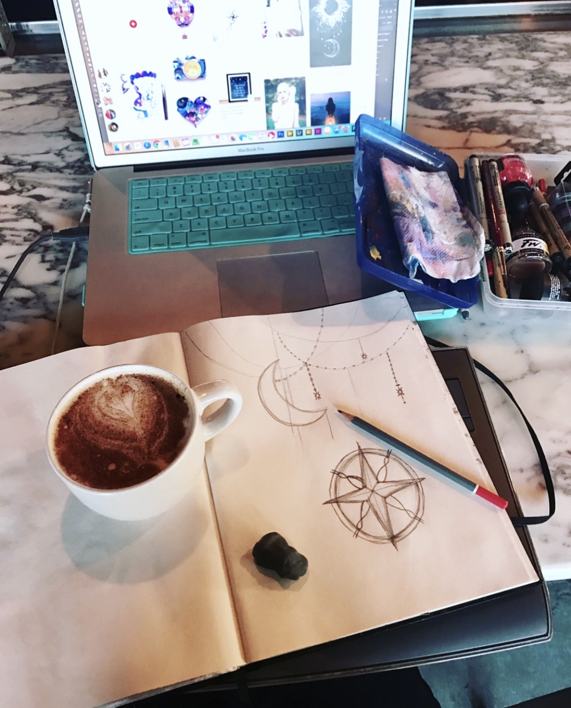 Behind the scenes shot- Chai Tea Latte, Pinterest, and a sketchbook. Bliss.