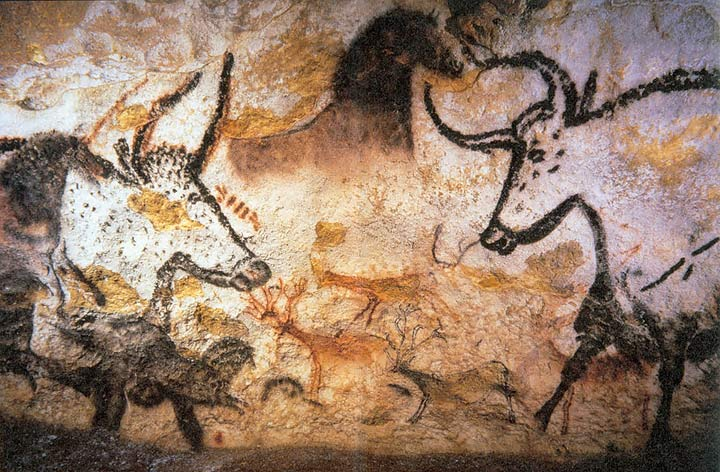 Part of the cave paintings at Lascaux, France.  Learn more about Lascaux here .