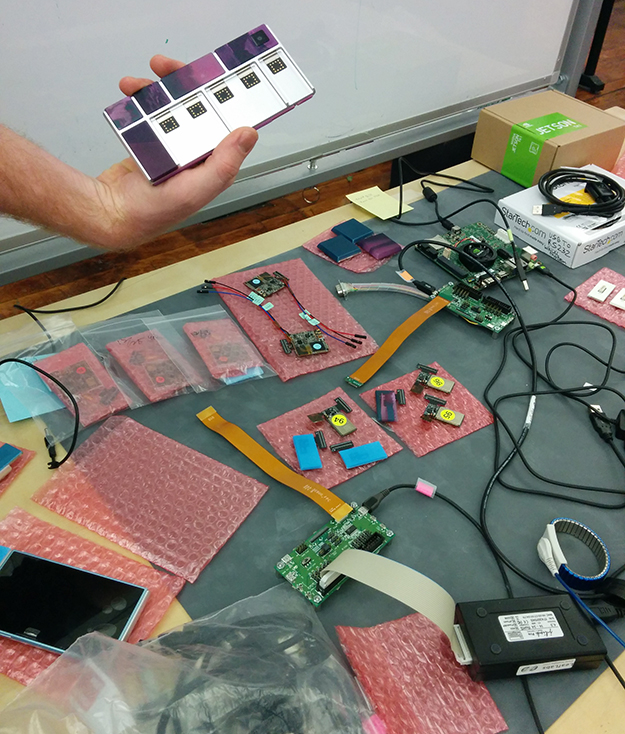 Workbench with phone prototypes