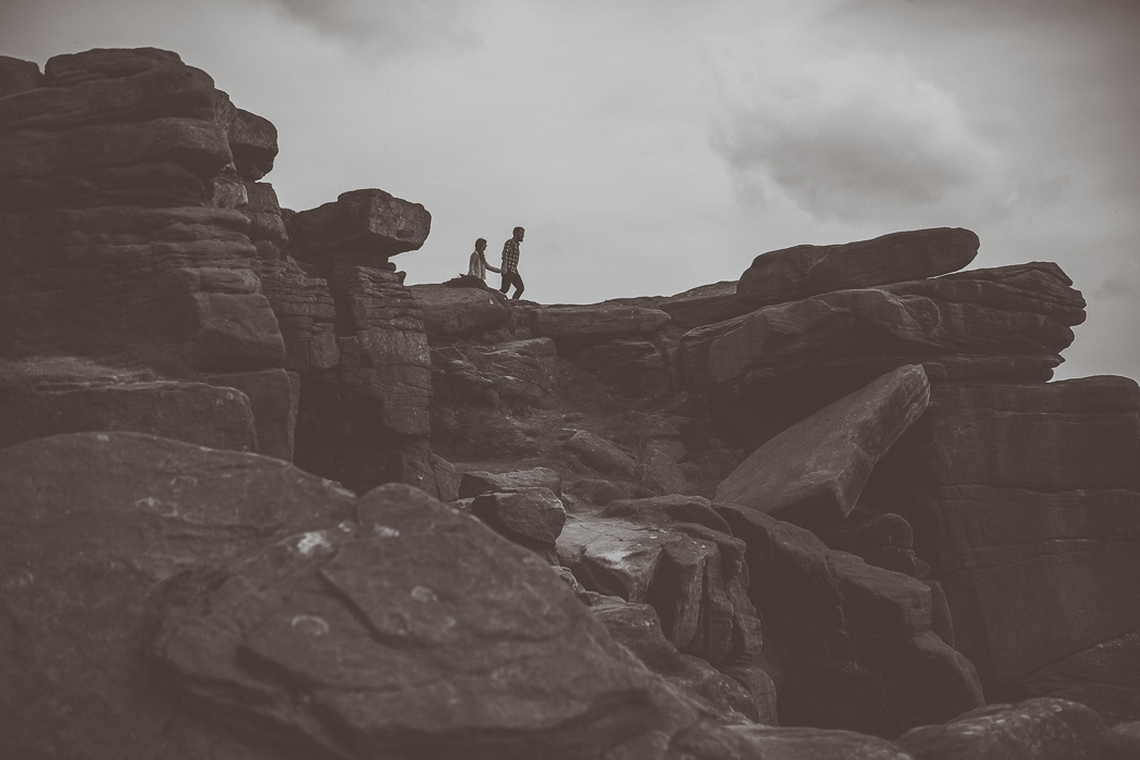 Couple portrait and engagement shoot at Stannage Edge in the Peak District by Yorkshire wedding Photographer