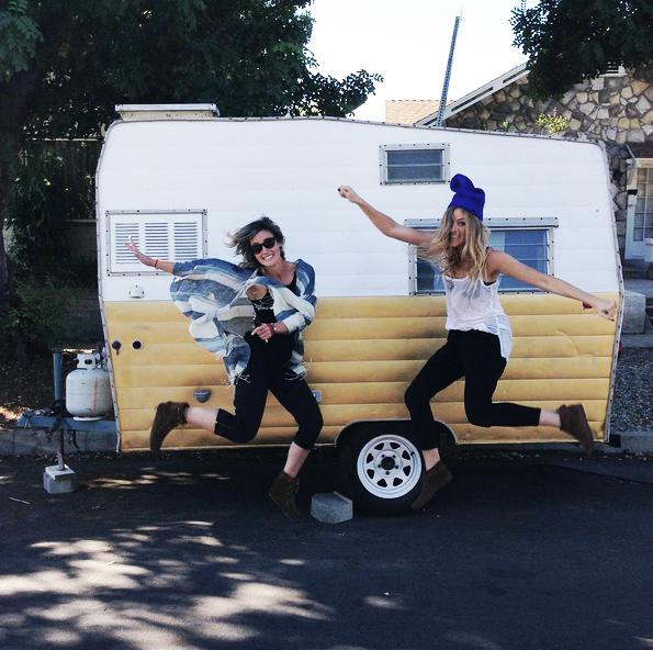 Jen & Annie with Birdie the camper.