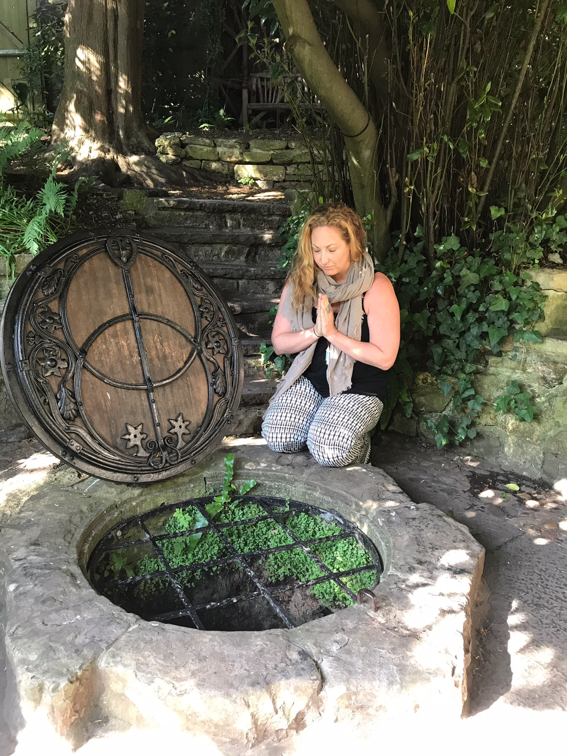 Me at the chalice well in Glastonbury, England, also known as Avalon.