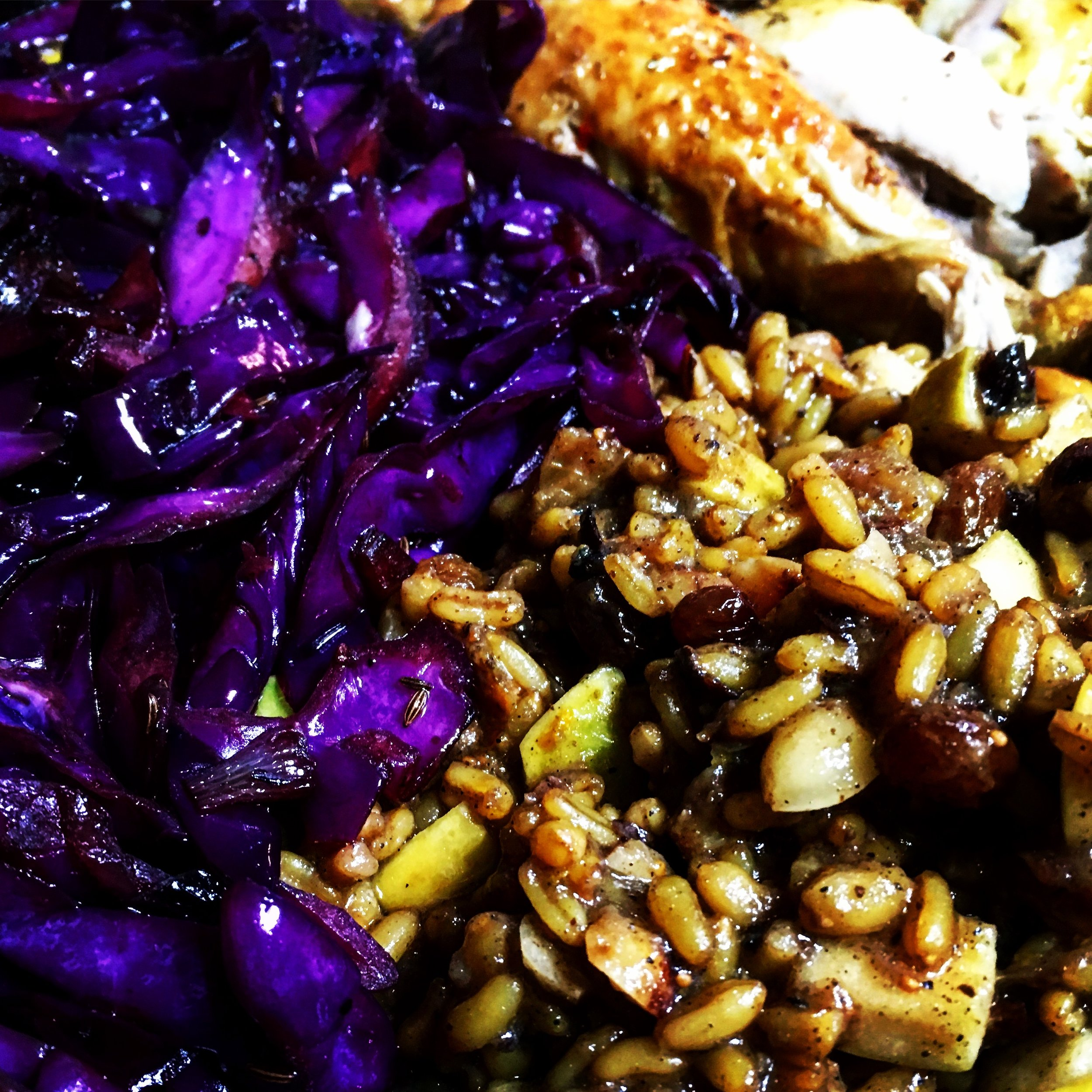 Roast Chicken, Sweet & Savory Farro, Skillet Cabbage
