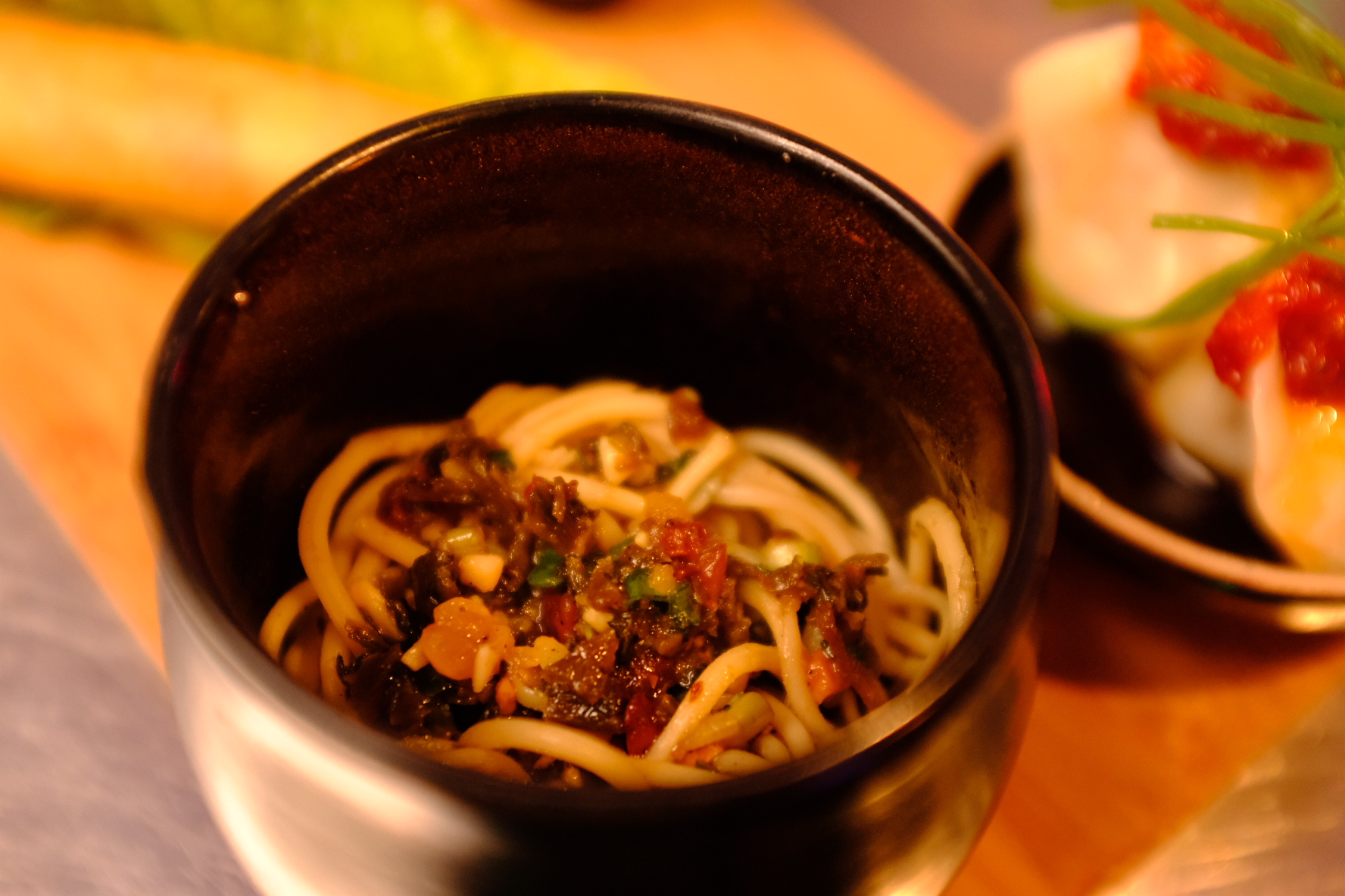 Hometown noodles, preserved mustard green and peanuts