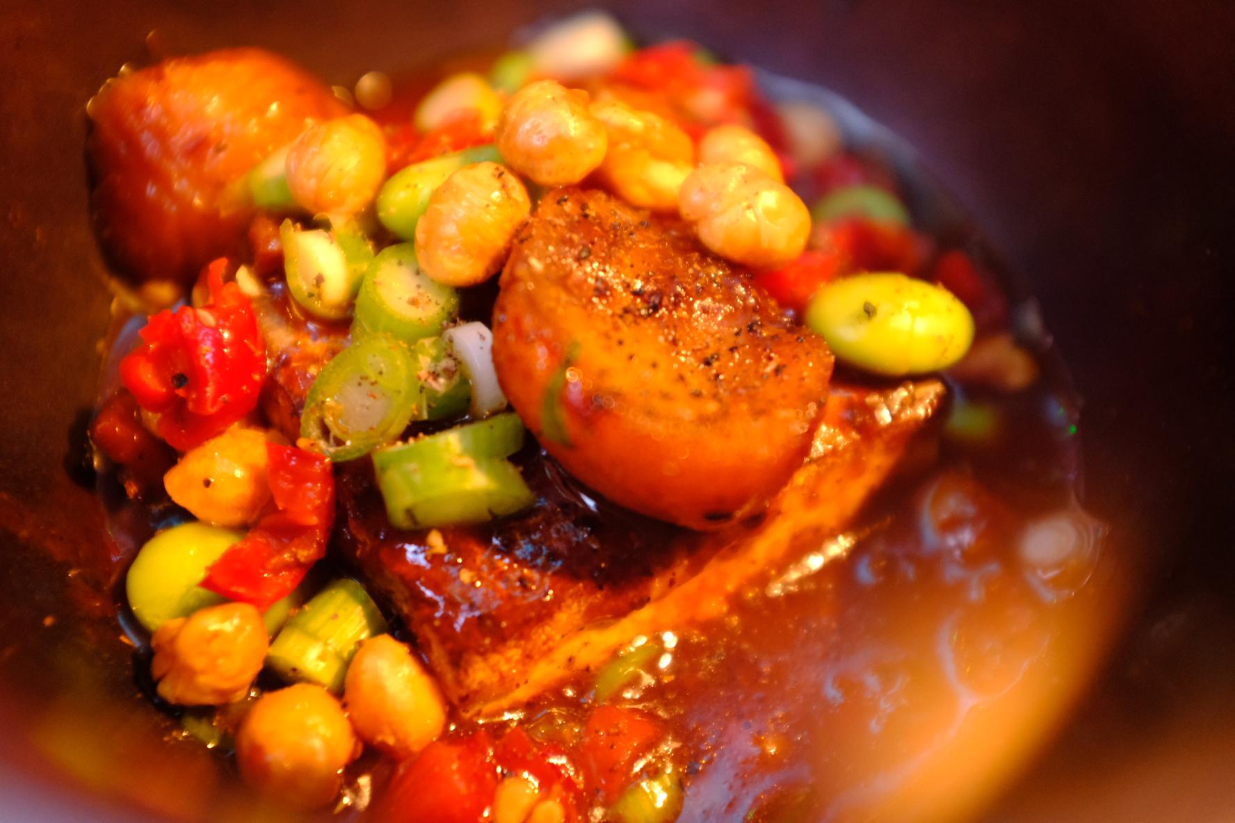 Flathead, tofu, chest nuts in pickled chilli broth