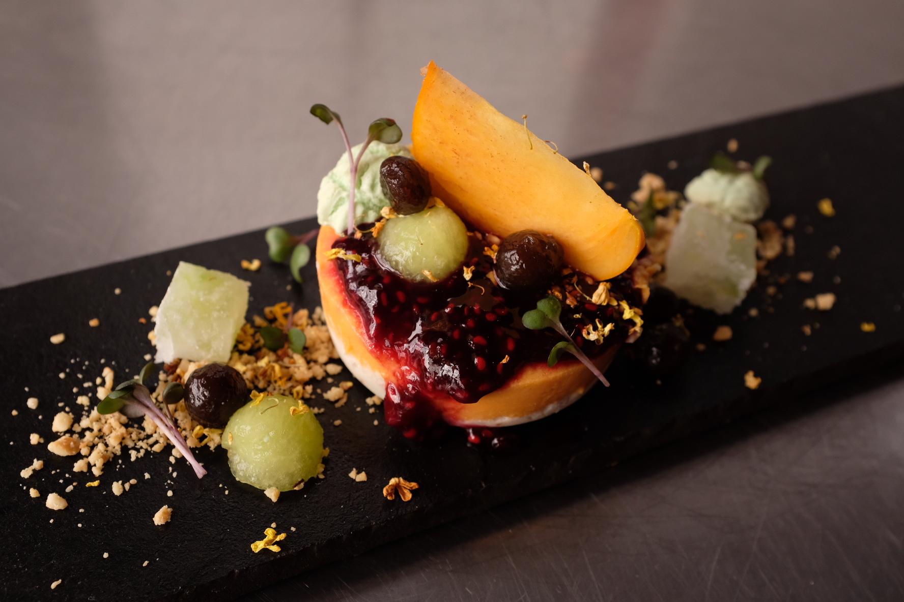 Papaya cheesecake, persimmon, winter melon sugar and raspberry jam