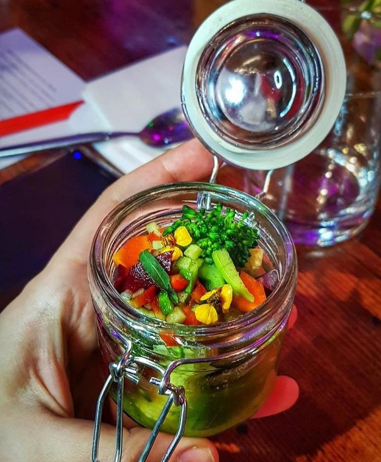 Baby veggie jar, green chilli salsa, Sichuan pepper oil