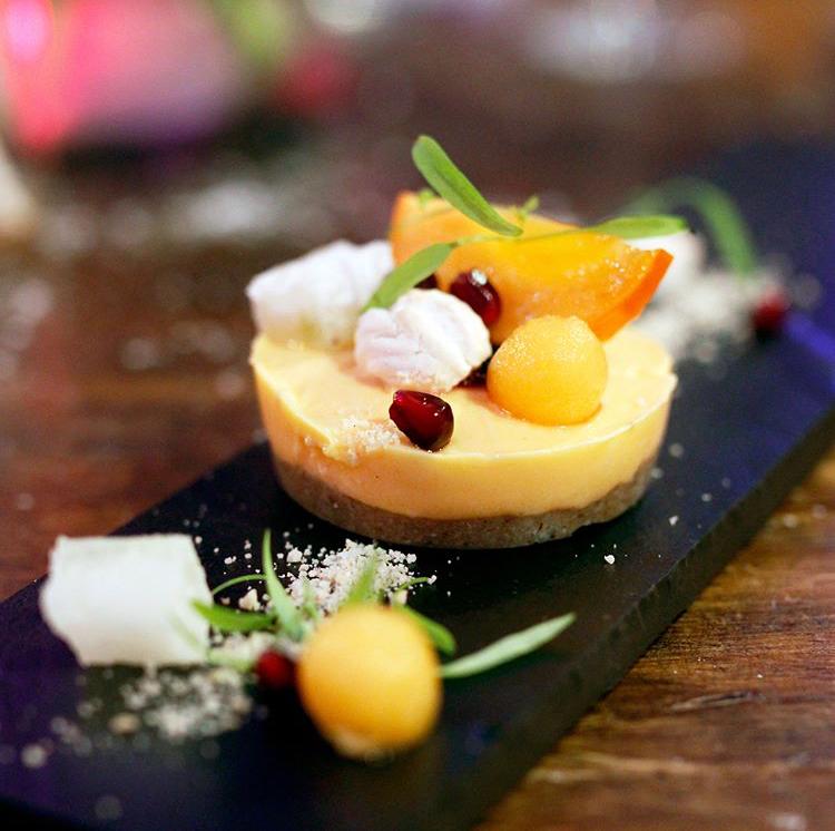 Papaya and yuzu dessert, winter melon sugar, persimmon