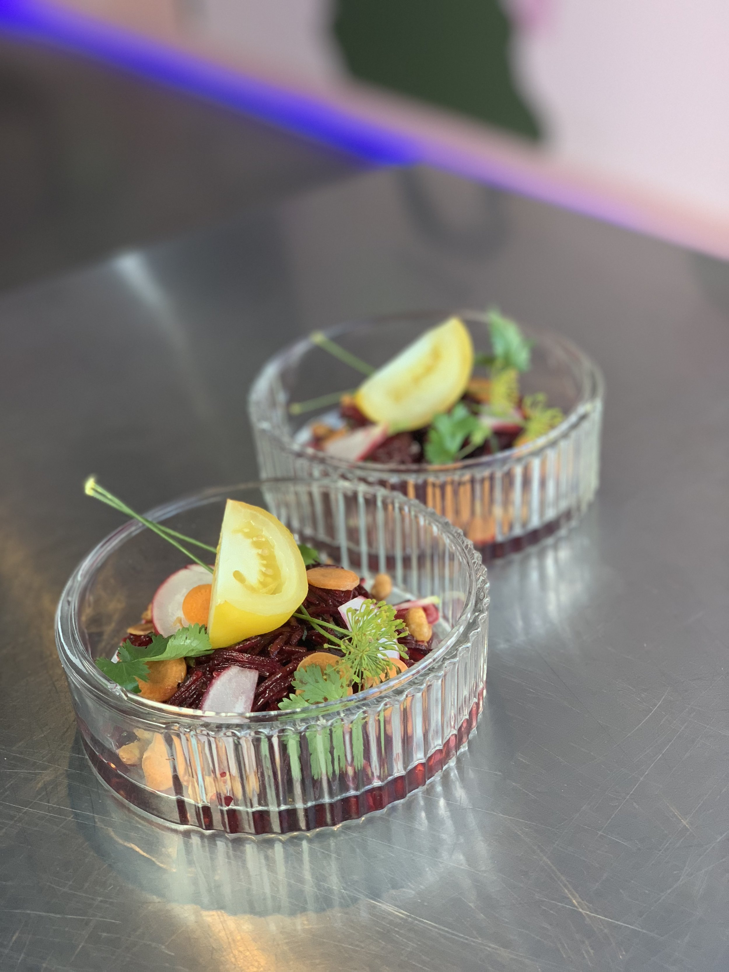 Beetroot and green apple tossed with chilli oil and Chinese vinegar