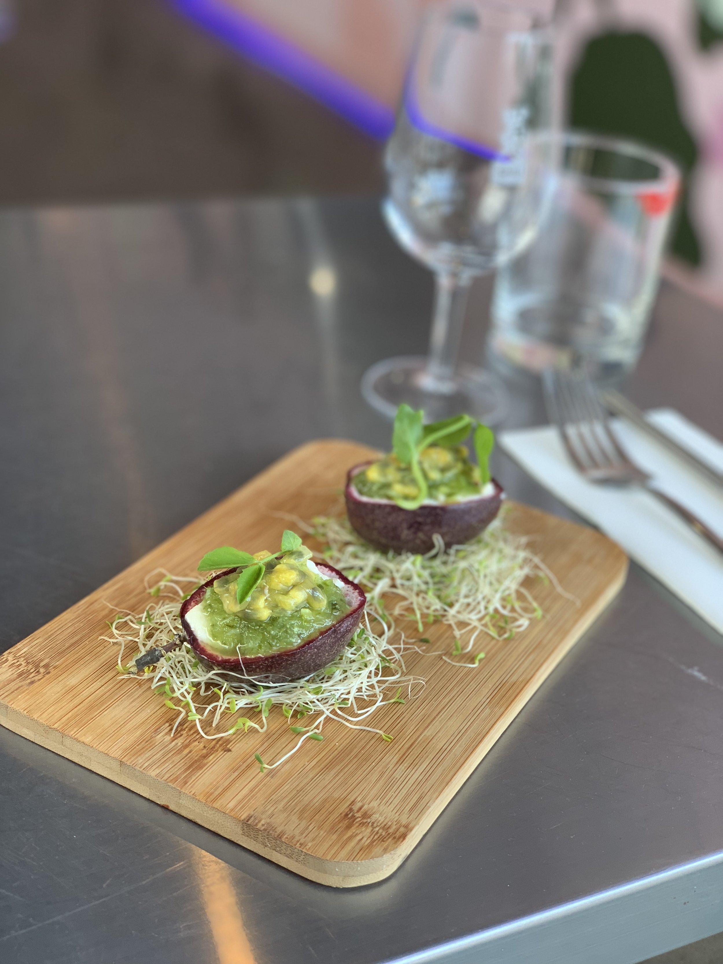 Silken tofu, green chilli salsa and passionfruit
