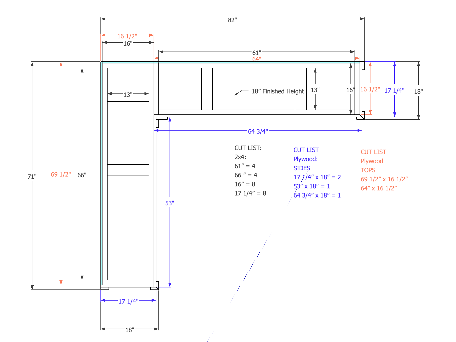 Bench Overhead Plan view with cuts