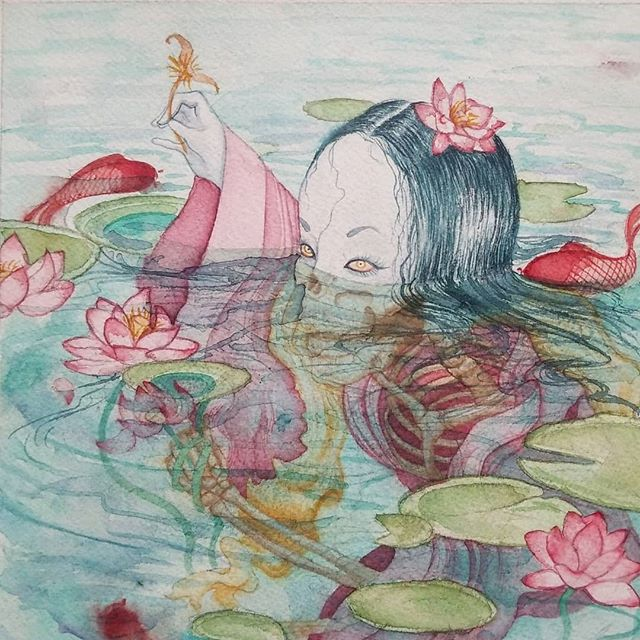 Spent my morning and afternoon editing old art to prep for some test prints. Here's another oldie but goodie from my school days. The prompt was to illustrate a Japanese water ghost-- I love Japanese folklore, so this piece was a real joy to conceptualize and paint. Still one of my favorites. . ➡️I'll be in Boston this Saturday and Sunday from 11-5 showcasing my work with #spaceus. Come find me and say hay💕 . . . . . #paintingoftheday #artoftheday #instaart #artworkoftheday #illustrationoftheday #illustrationart #artistsofinstagram #illustration #illustratorsofinstagram #bostonartist