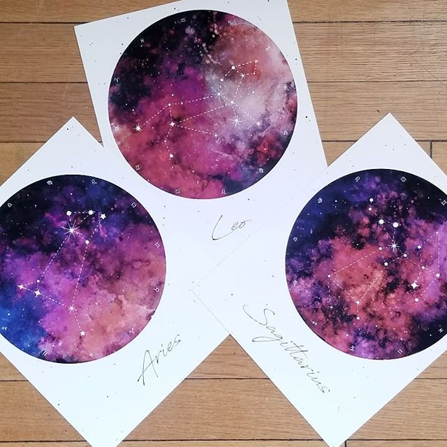♈♐♌Where my fire signs at? Tune into your sun sign and get spicy, my Leos, Aries, and Sagittarius! I myself am an Aries sun. Vibrant watercolor textures bring these reimagined classic constellations to life. Stay tuned for earth, air, and water! . . . . . #zodiacsigns #zodiacsign #astrologysigns #astrology #illustrationartist #graphicdesigner #artoftheday #artworkoftheday #graphicdesigndaily #igartist