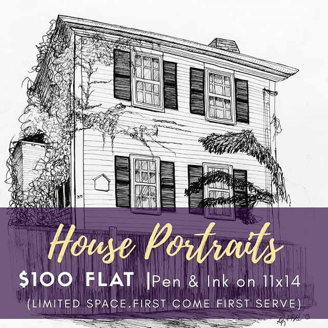 House portraits open for the holidays! Crank the nostalgia waaay up this year with the gift of a custom pen and ink house portrait. Be it your family home, first house as a married couple, or that special vacation home on the lake-- house portraits make a thoughtful personalized gift to be treasured for years to come. . ➡️7 slots open only. Once they're filled, that's it: ✔$100 flat ✔Add a frame for $25 extra ✔sized 11x14 on hot presses paper ✔Premium india ink ✔1 week turnaround time . DM me or email amandapratherstudio@gmail.com to claim your slot. . . . . #artoftheday #artworkoftheday #illustrationoftheday #illustrationart #penandink #drawingoftheday #drawingsketch #bostonart #artwork #artistsofinstagram #drawingart #penart