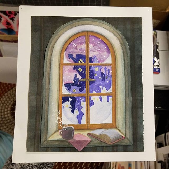 Doing what I love and painting into the wee hours. Nights like this--staying up painting-- remind me of art school. Here's an oldie from said school days. Circa 2014. Watercolor and cut paper. I painted this very illustration on a cold winter night like this one... too bad there's no snow this time❄ . CYBERSALE➡️20% off all orders of $30 or more in my print shop this week only. Amandapratherstudio.shop ((click the link in my bio)) . . . . . #illustrationartist #illustrationoftheday #illustrationart #artworkoftheday #instaartist #artoftheday #artwork #illustratorsoninstagram #artistsofinstagram #etsyartists