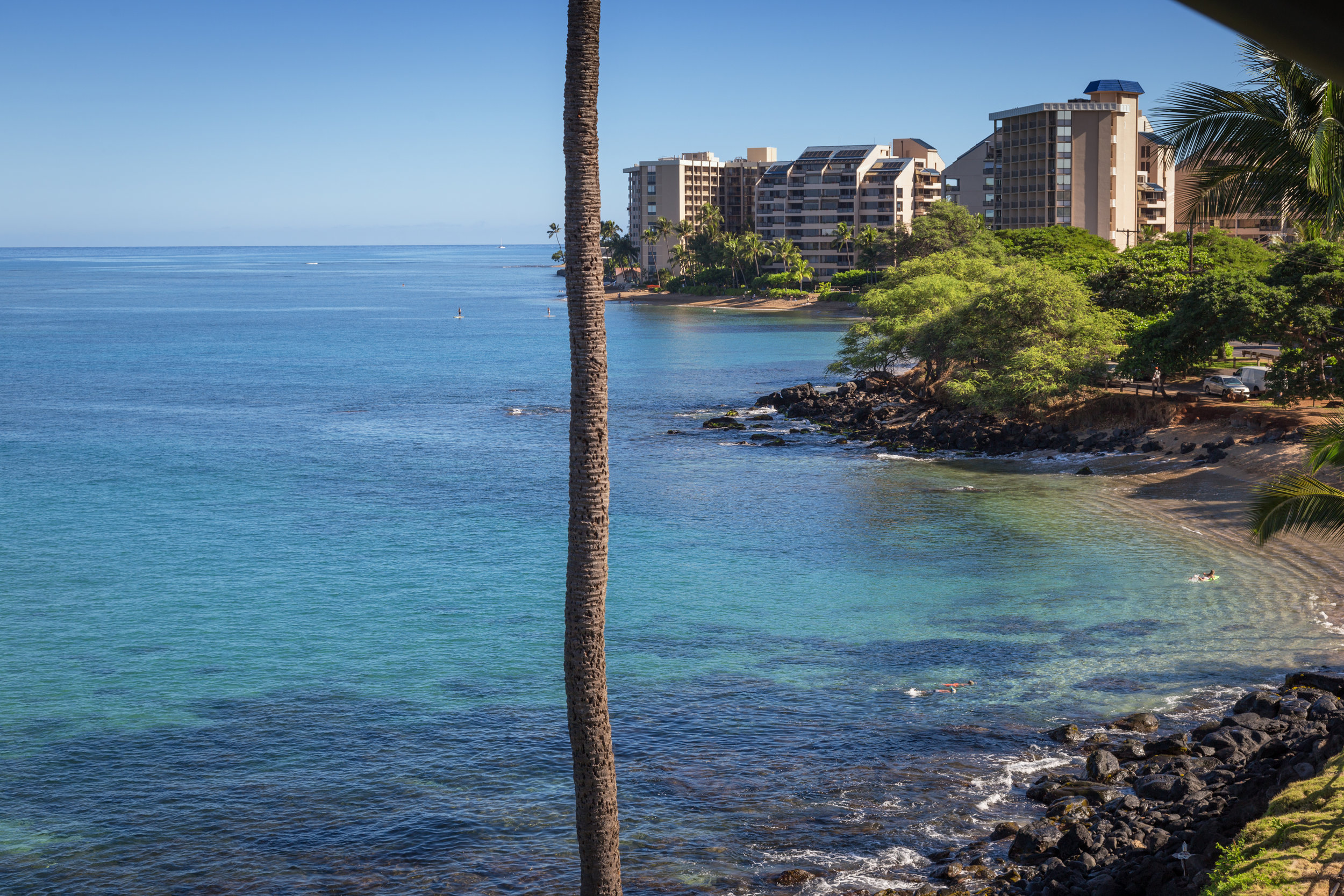A little over a mile away, Pohaku Park is a charming beach cove that offers excellent snorkeling and good swimming.
