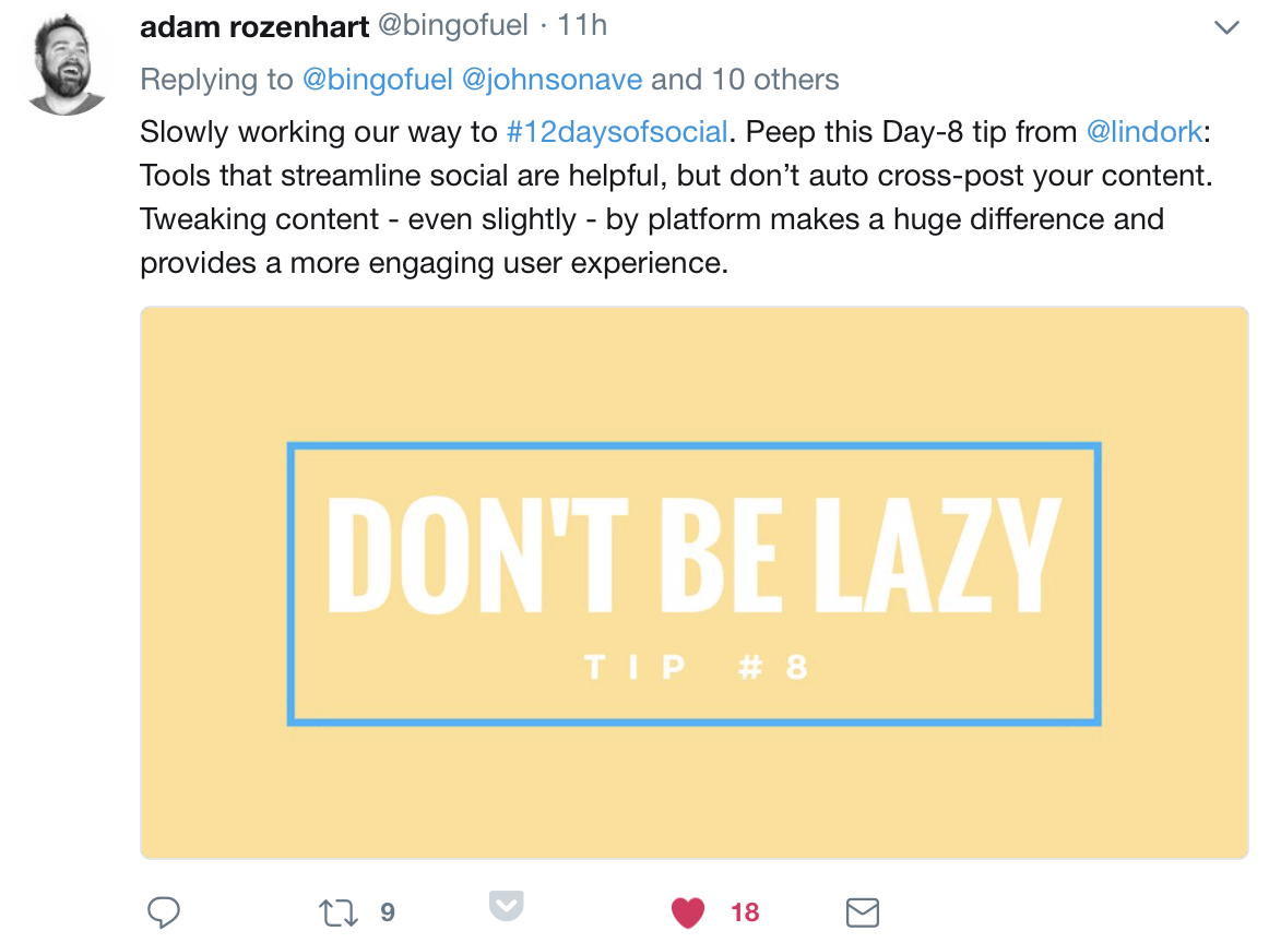 Wise words from the one and only @lindork. PS: Major shout-out to #iMEDIA17 Keynote, Adam Rozenhart for making the #12daysofsocial happen!  Great advice from some of his favourite social media pros!