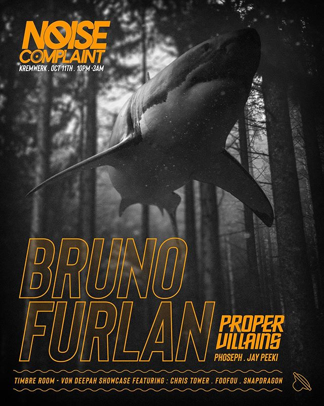 HEADS UP: WE MAKE COMPLAINTS IN ONE WEEK. 🔇 @brunofurlan & @propervillains will be in our fave basement alongside some VERY talented support ++ a few selectors will be plunging you into the deep in the @timberoom upstairs ... tix are available via our website! 🔜