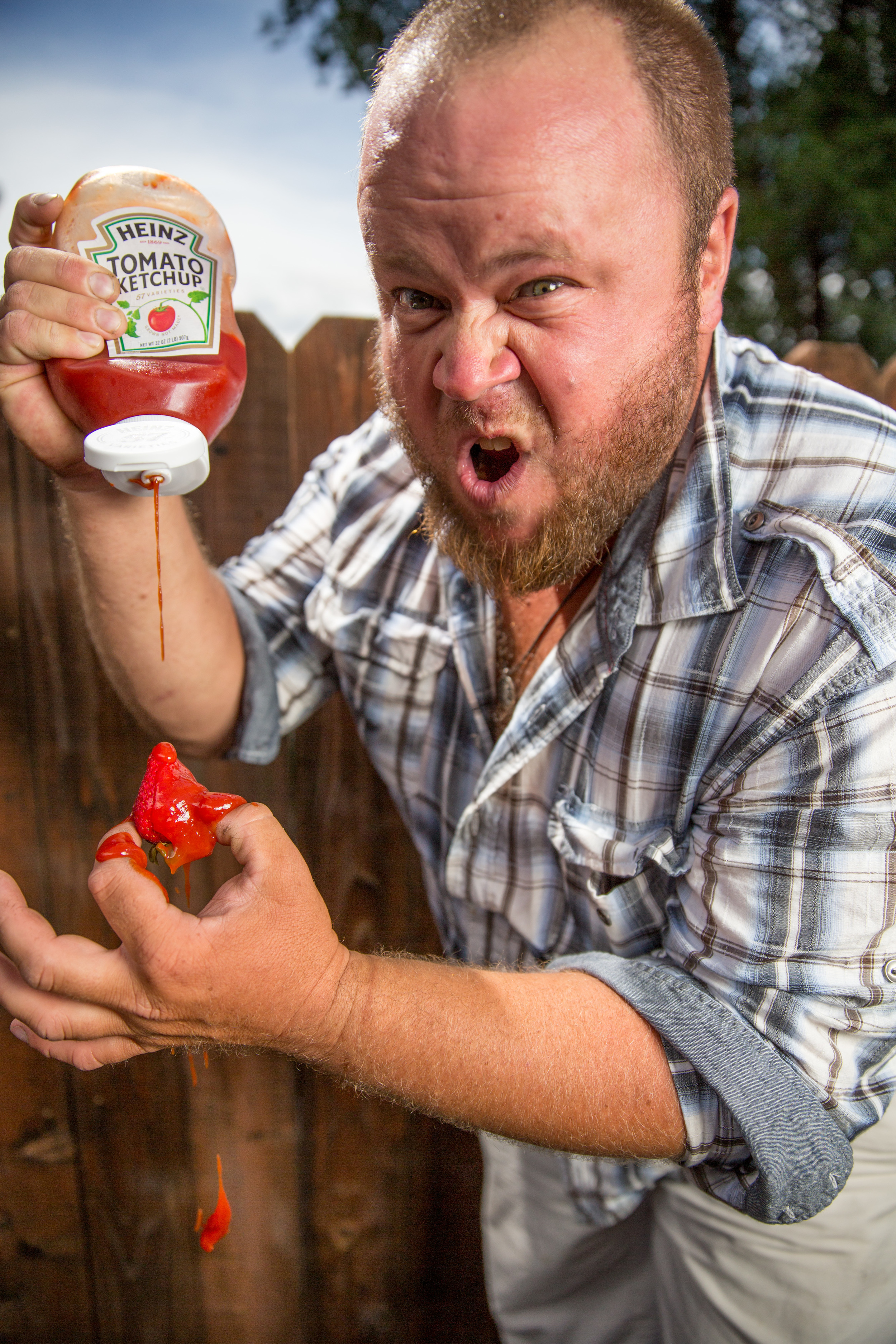 Big Willy Style! Will Viktora spices up his strawberries with a dollop or ten of Heinz catsup. Family tradition.