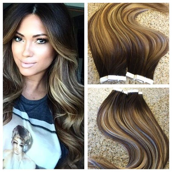 Tape-in hair extensions found on  Pinterest